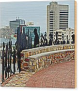 Shadow Representations Of People Coming To The Port In Donkin Reserve In Port Elizabeth-south Africa   Wood Print