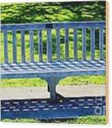 Shadows Of A Park Bench Wood Print