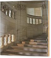 Shadows On Chateau Chambord Stairs Wood Print