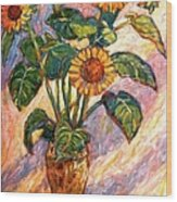 Shadows On Sunflowers Wood Print