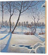 Shadows On The Snow Wood Print