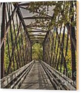 Shadows On The Walking Bridge Wood Print