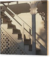 Shadowy Lambertville Stairwell Wood Print by Anna Lisa Yoder