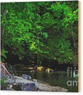 Shall We Gather At The River Wood Print