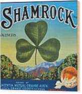 Shamrock Crate Label Wood Print