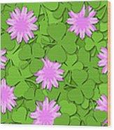 Shamrock Paper Cutting Clover Flowers Background Wood Print