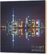 Shanghai Reflections Wood Print