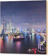 Shanghai Skyline At Night Wood Print
