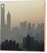 Shanghai Skyline Three Towers And Perl Wood Print
