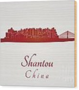 Shantou Skyline In Red Wood Print