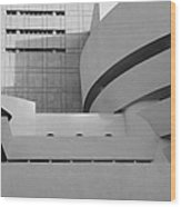 Shapes Of The Guggenheim In Black And White Wood Print
