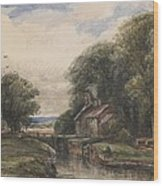 Shardlow Lock With The Lock Keepers Cottage Wood Print