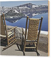 Share A Moment At Crater Lake Oregon Wood Print