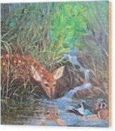 Sharing The Pond Wood Print