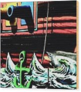 Shark And Pirate Ship Pop Art Posterized Photo Wood Print