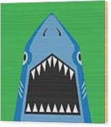 Shark Illustration, T-shirt Graphics Wood Print
