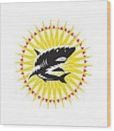 Shark Swimming Up Sunburst Woodcut Wood Print
