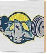 Shark Weightlifter Lifting Barbell Mascot Wood Print by Aloysius Patrimonio