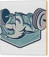Shark Weightlifter Lifting Weights Mascot Wood Print by Aloysius Patrimonio