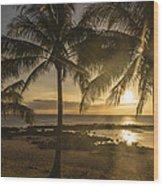 Sharks Cove Sunset 2 - Oahu Hawaii Wood Print