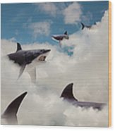 Sharks Floating In Clouds Wood Print