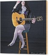 Sharon With Guitar Wood Print