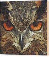 Sharpie Owl Wood Print by Ayse Deniz