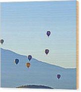Shasta Balloon Panorama Wood Print