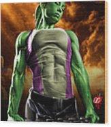 She-hulk 2 Wood Print by Pete Tapang