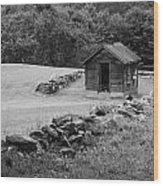 Shed  And Rock Wall Wood Print
