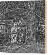 Shed Bw Wood Print