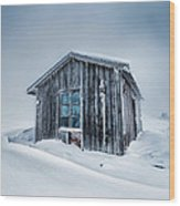 Shed In The Blizzard Wood Print