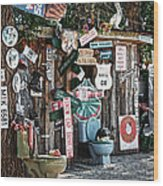 Shed Toilet Bowls And Plaques In Seligman Wood Print by RicardMN Photography