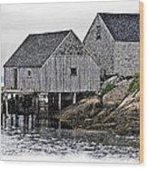 Sheds At Peggys Cove Wood Print