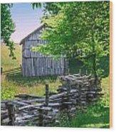 Sheep Barn Wood Print