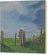 Sheep Field Wood Print