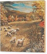 Sheep in October's field Wood Print
