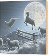 Sheep Jumping Over Fence In A Cloudy Wood Print