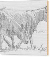 Sheep Walking Wood Print