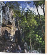 Sheer Cliff With Waterfall Wood Print
