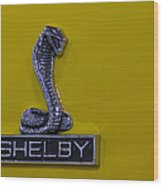 Shelby Gt350 Emblem On Yellow Wood Print