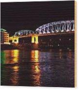 Shelby Street Bridge At Night Wood Print by Dan Sproul