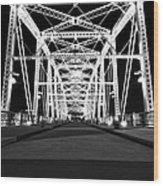 Shelby Street Bridge At Night In Nashville Wood Print