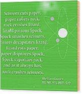 Sheldon Cooper - Rock Paper Scissors Lizard And Spock Wood Print