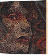 Shell Cyborg Portrait Wood Print