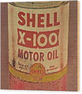 Shell Motor Oil Wood Print by Michelle Calkins