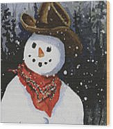 Shelly's Snowman Wood Print