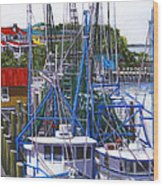 Shem Creek Shrimp Boats Wood Print