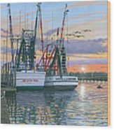 Shem Creek Shrimpers Charleston  Wood Print by Richard Harpum