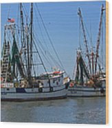 Shem Creek Shrimpers Wood Print